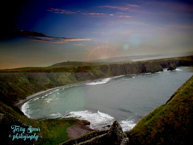castle view of ocean North Sea clouds sunset  vivid text (640x480)