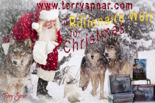 Billionaire Wolf Christmas Wolves and Santa with extra snow font 1000